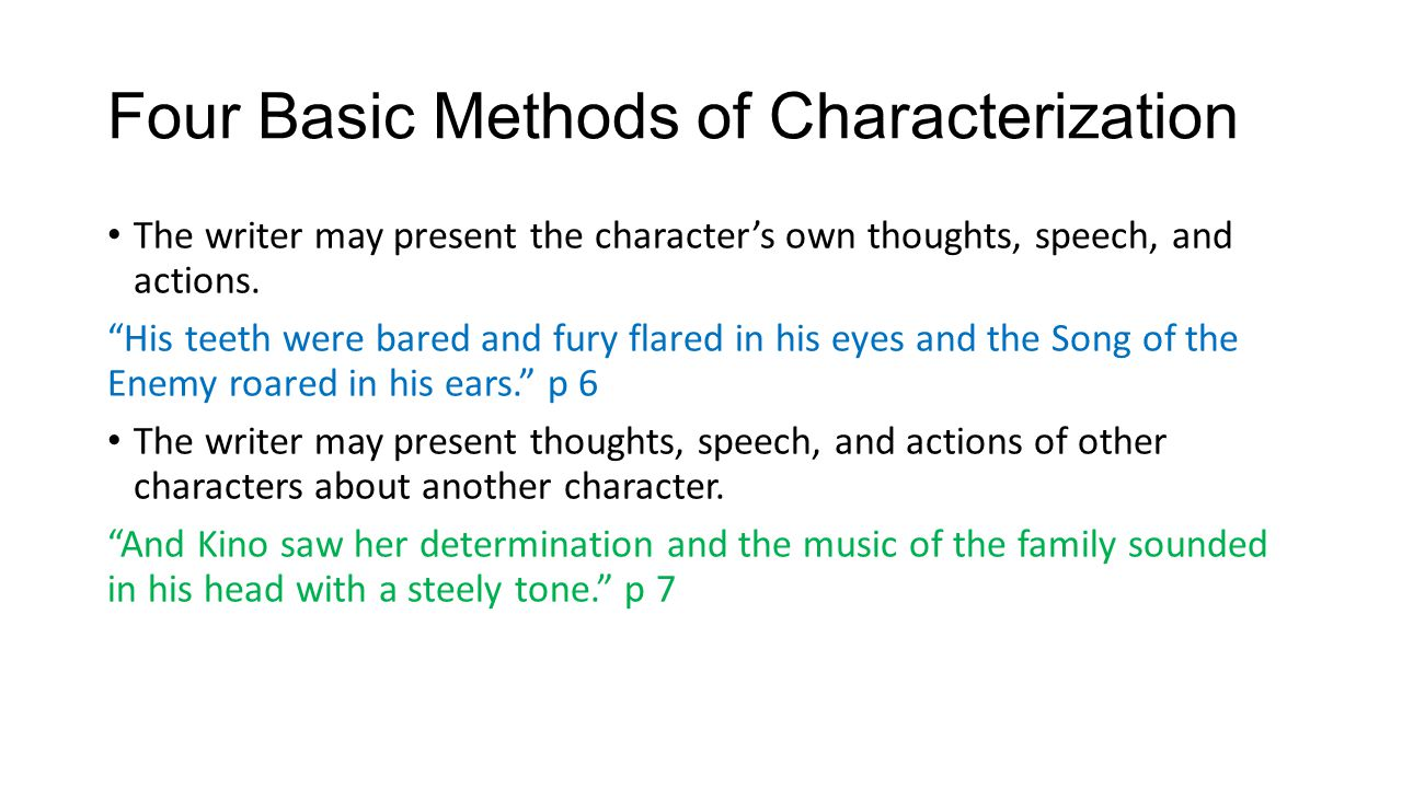 Four Basic Methods of Characterization