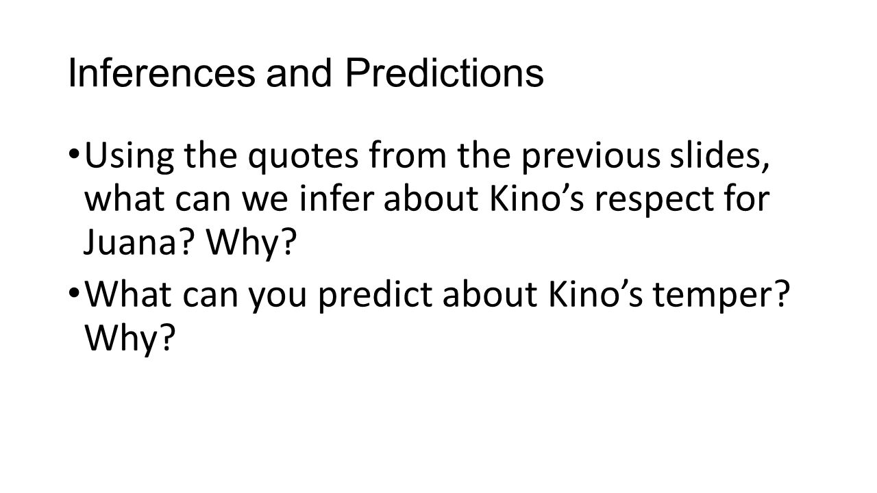 Inferences and Predictions