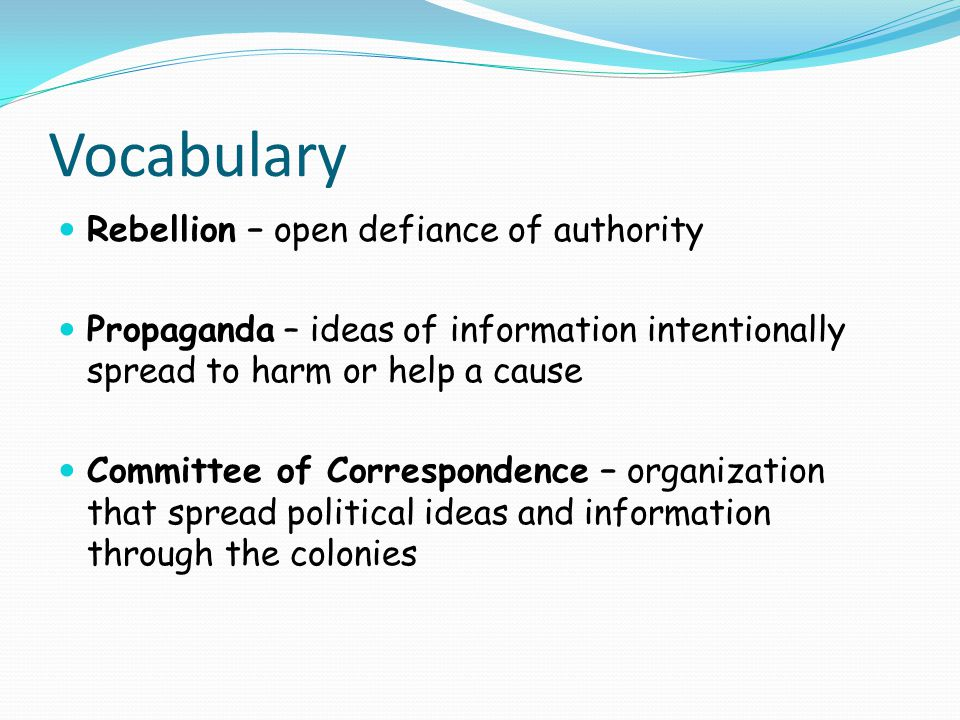 Vocabulary Rebellion – open defiance of authority