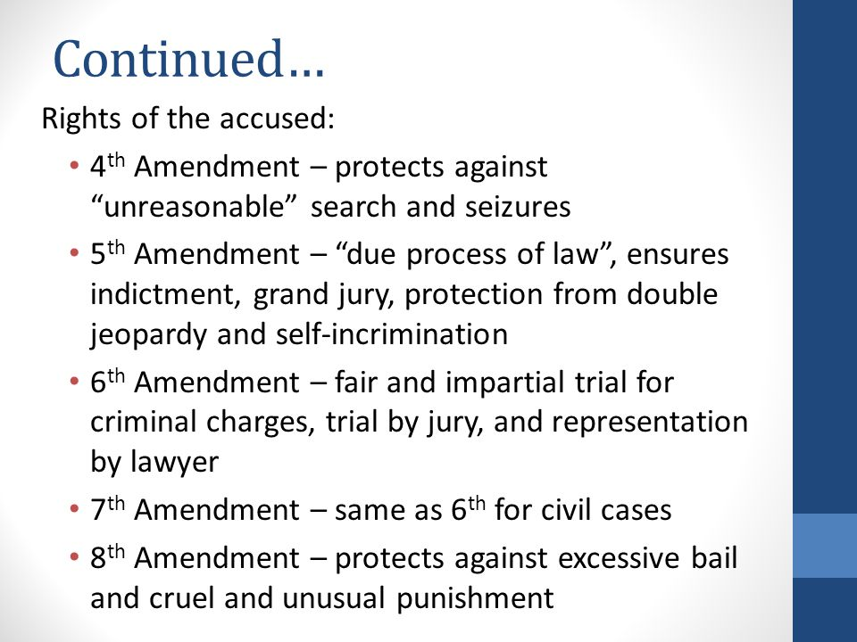 Continued… Rights of the accused: