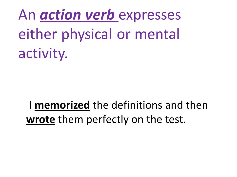 An action verb expresses either physical or mental activity.