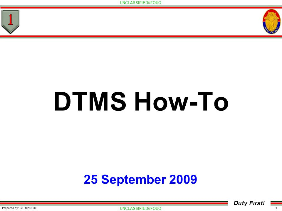 DTMS How-To 25 September 2009
