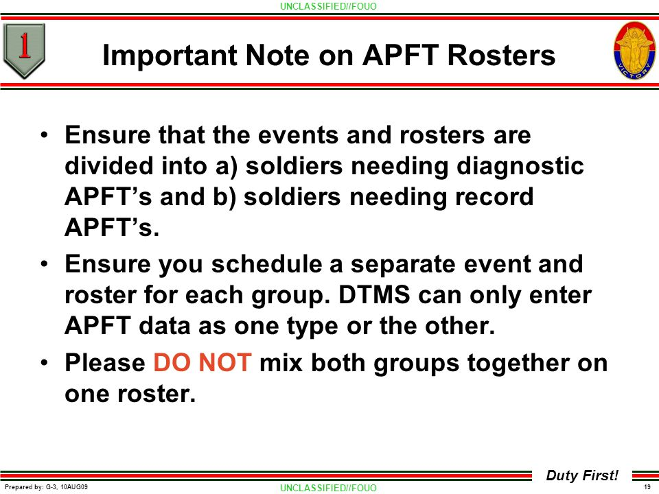 Important Note on APFT Rosters