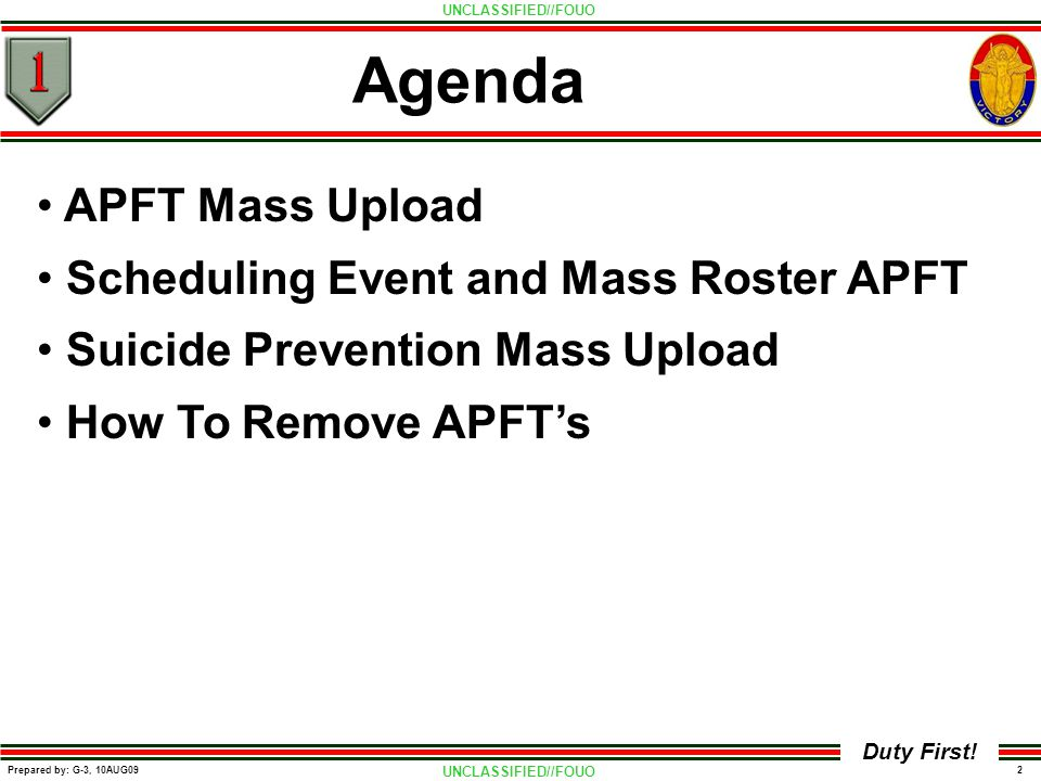 Agenda APFT Mass Upload Scheduling Event and Mass Roster APFT