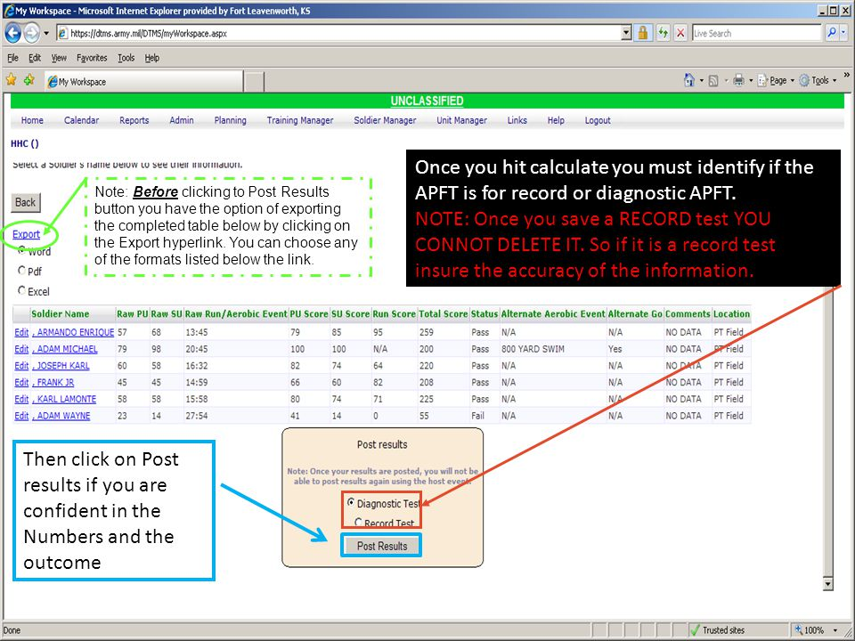 Once you hit calculate you must identify if the APFT is for record or diagnostic APFT.