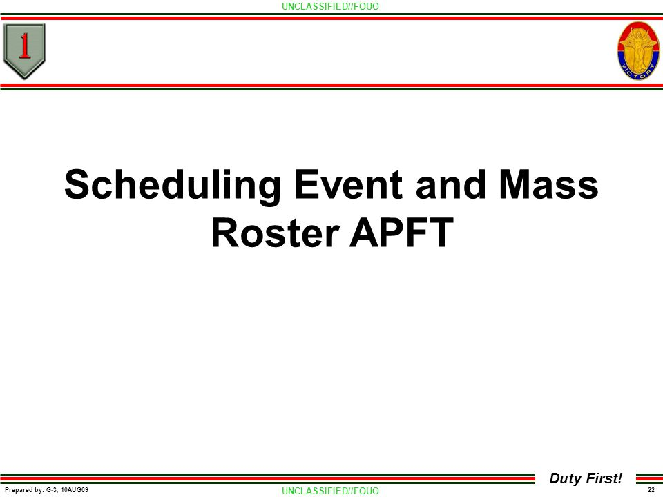 Scheduling Event and Mass Roster APFT