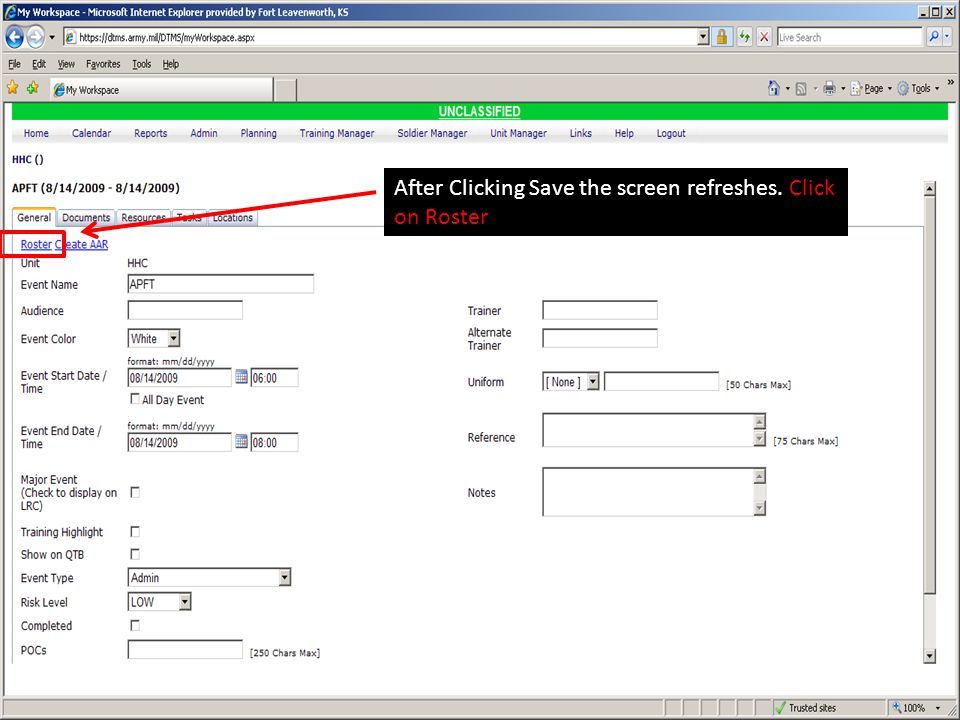 After Clicking Save the screen refreshes. Click on Roster