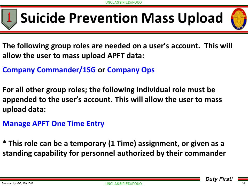 Suicide Prevention Mass Upload