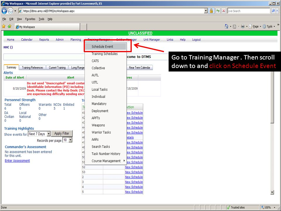 Go to Training Manager . Then scroll down to and click on Schedule Event