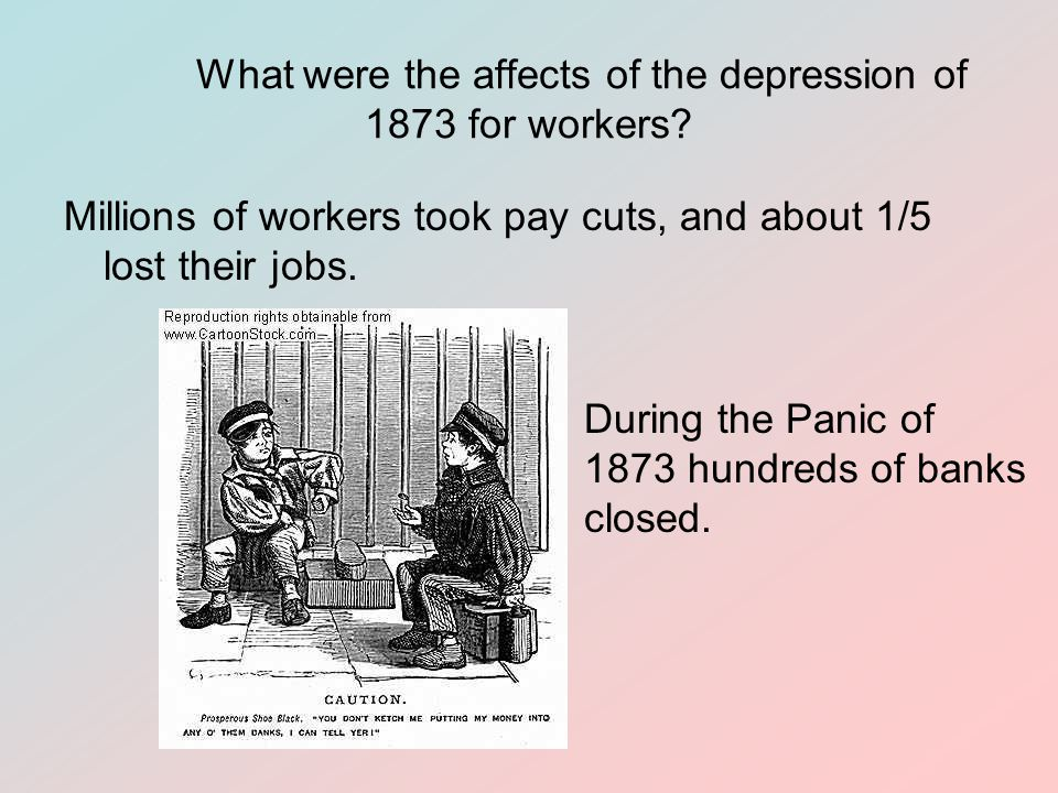 What were the affects of the depression of 1873 for workers