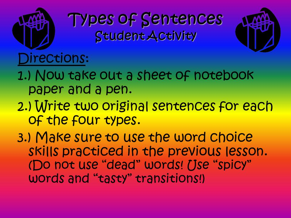 Types of Sentences Student Activity