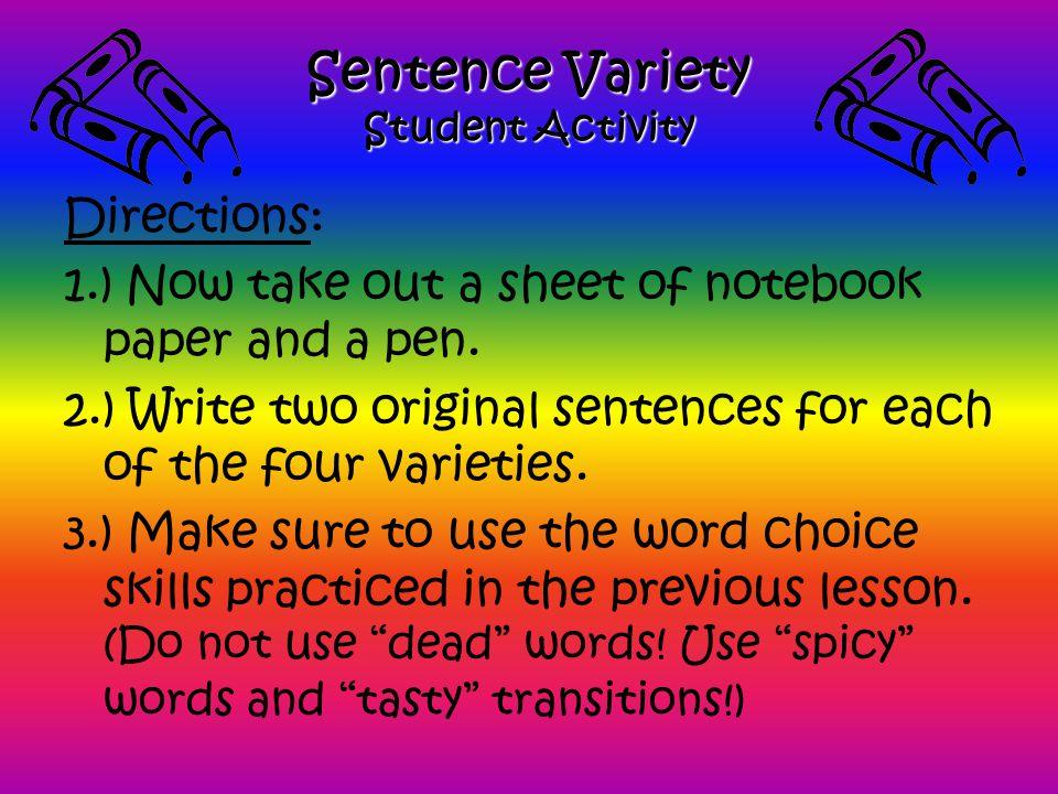 Sentence Variety Student Activity