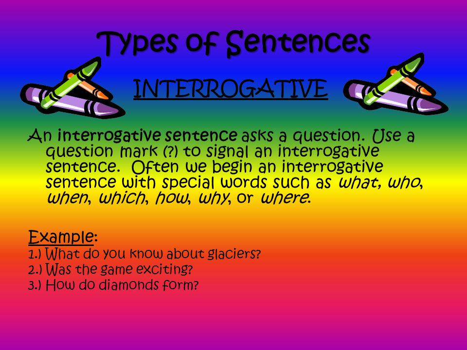 Types of Sentences INTERROGATIVE
