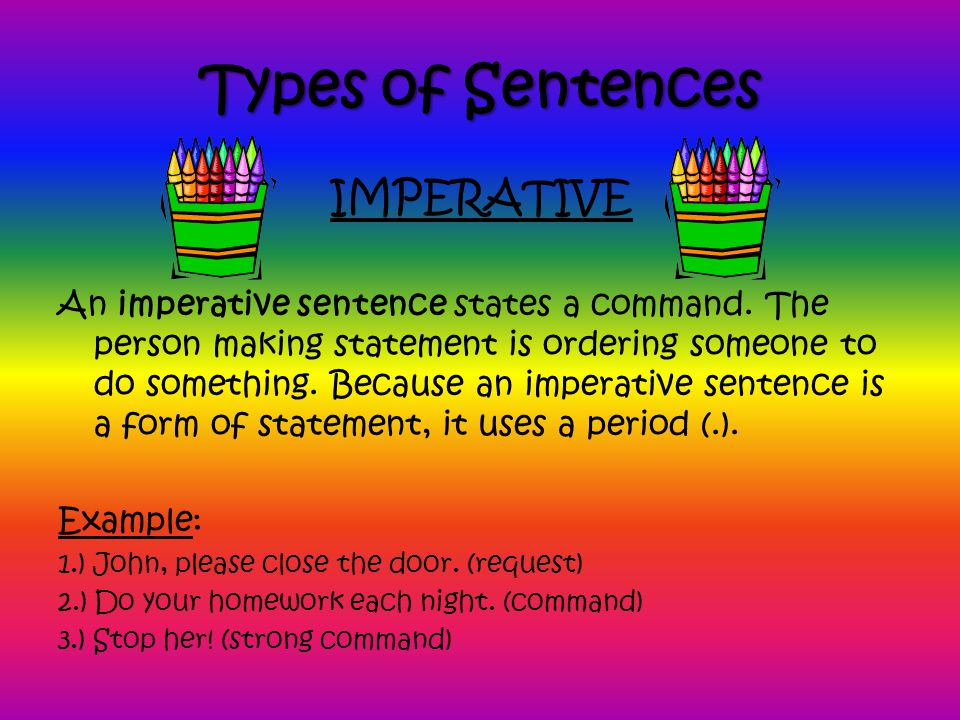 Types of Sentences IMPERATIVE