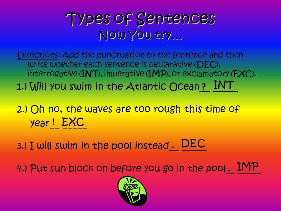 Types of Sentences Now You try…