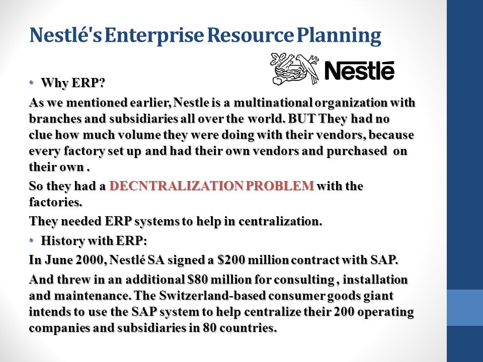 Nestlé s Enterprise Resource Planning