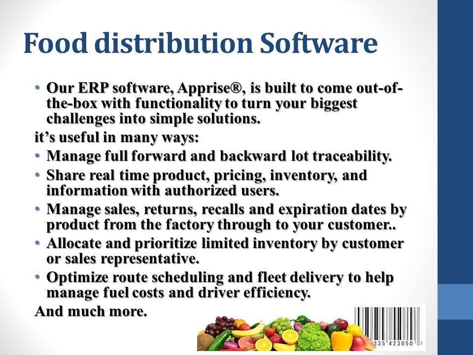 Food distribution Software