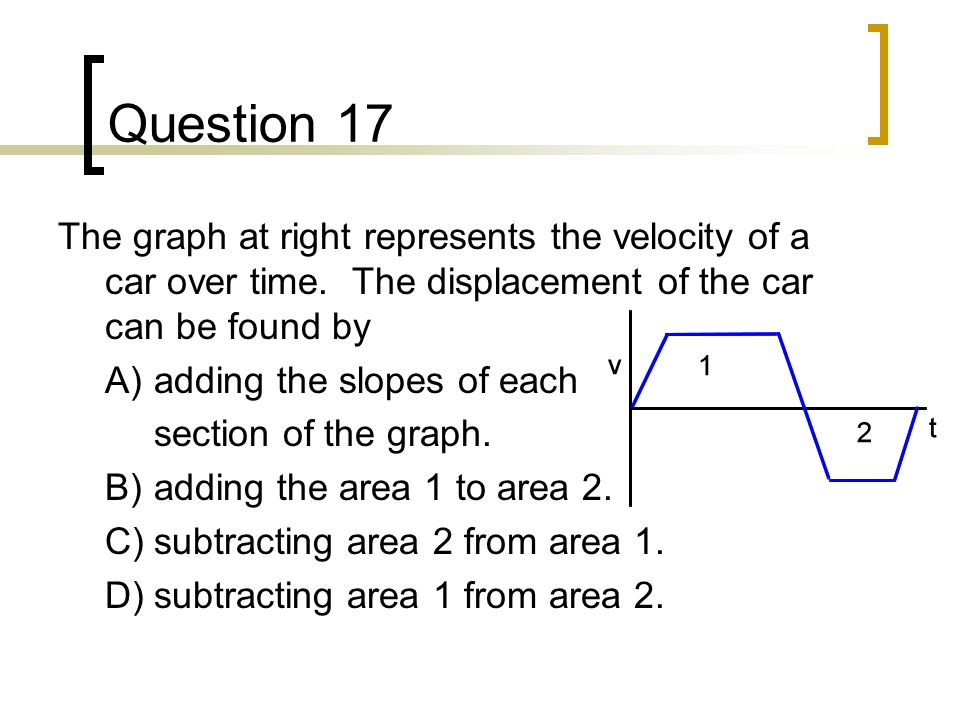 Question 17 The graph at right represents the velocity of a car over time. The displacement of the car can be found by.
