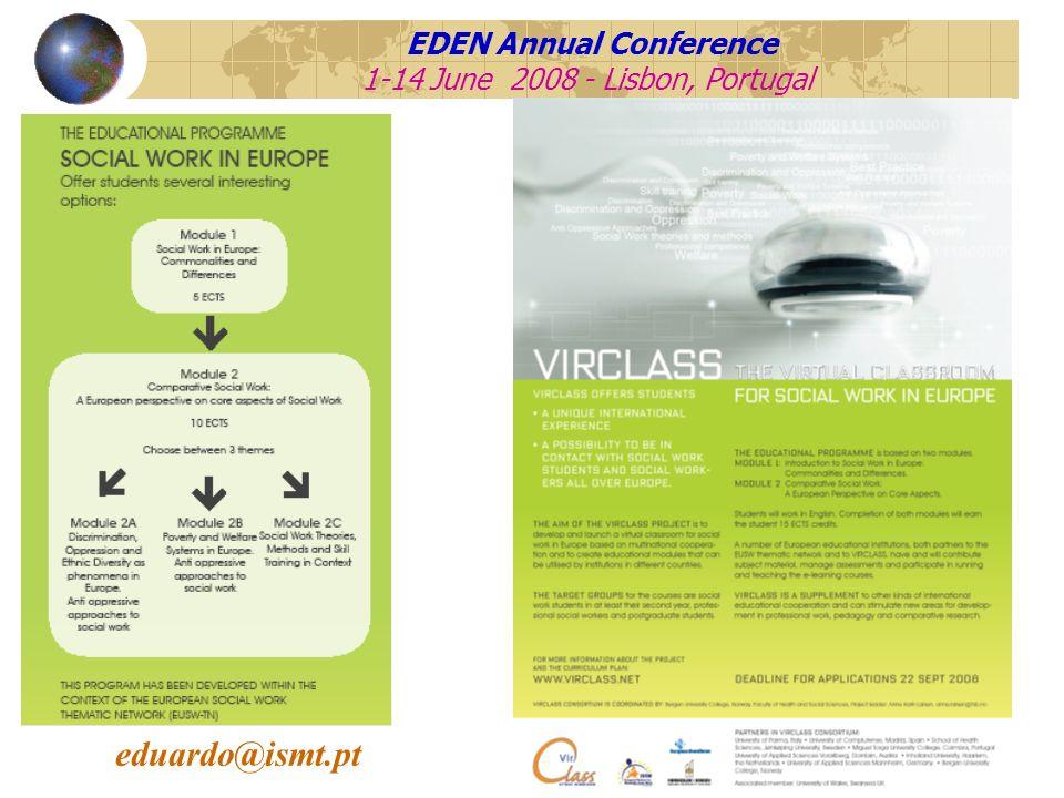 EDEN Annual Conference 1-14 June 2008 - Lisbon, Portugal