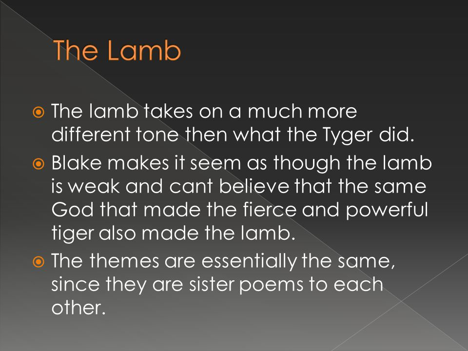 The Lamb The lamb takes on a much more different tone then what the Tyger did.