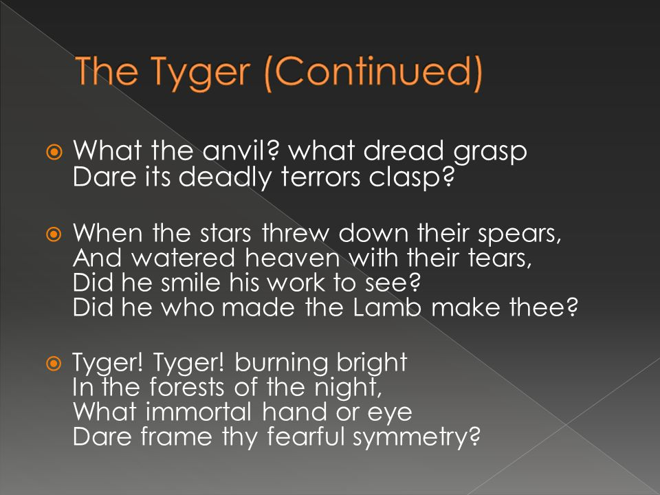 The Tyger (Continued) What the anvil what dread grasp Dare its deadly terrors clasp