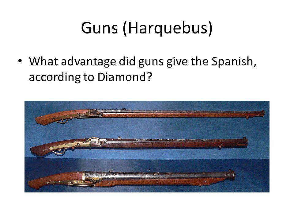 Guns (Harquebus) What advantage did guns give the Spanish, according to Diamond 18:08-19:38