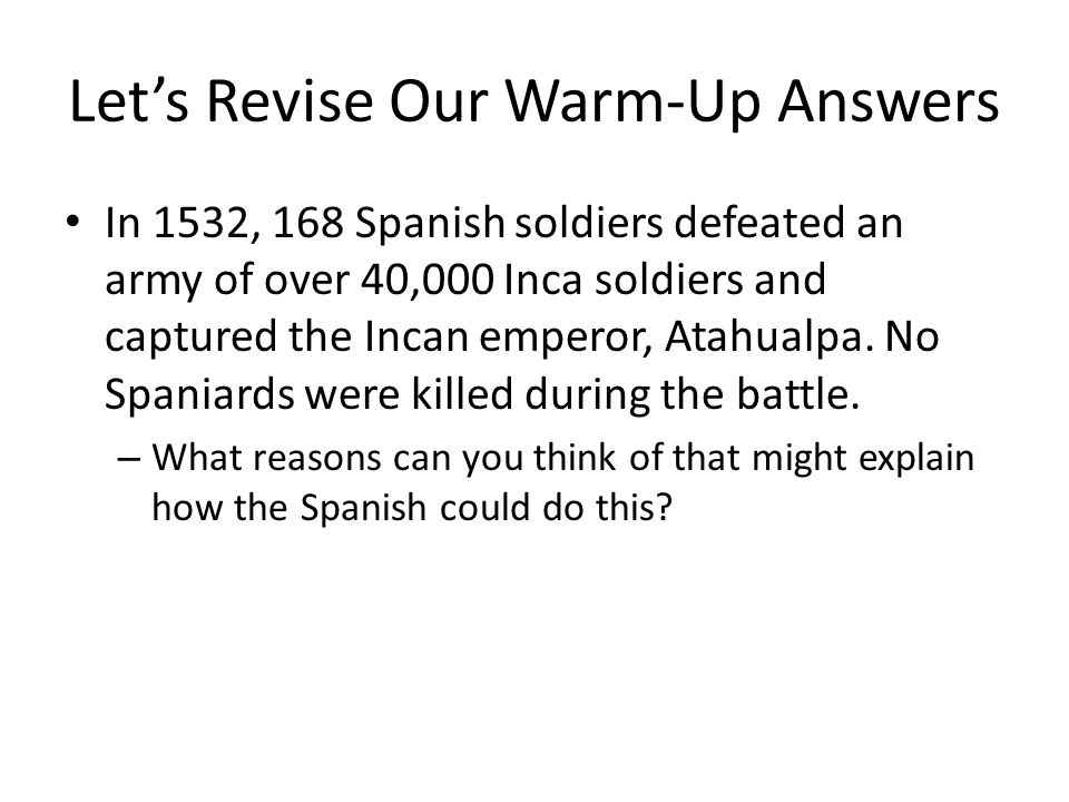 Let's Revise Our Warm-Up Answers