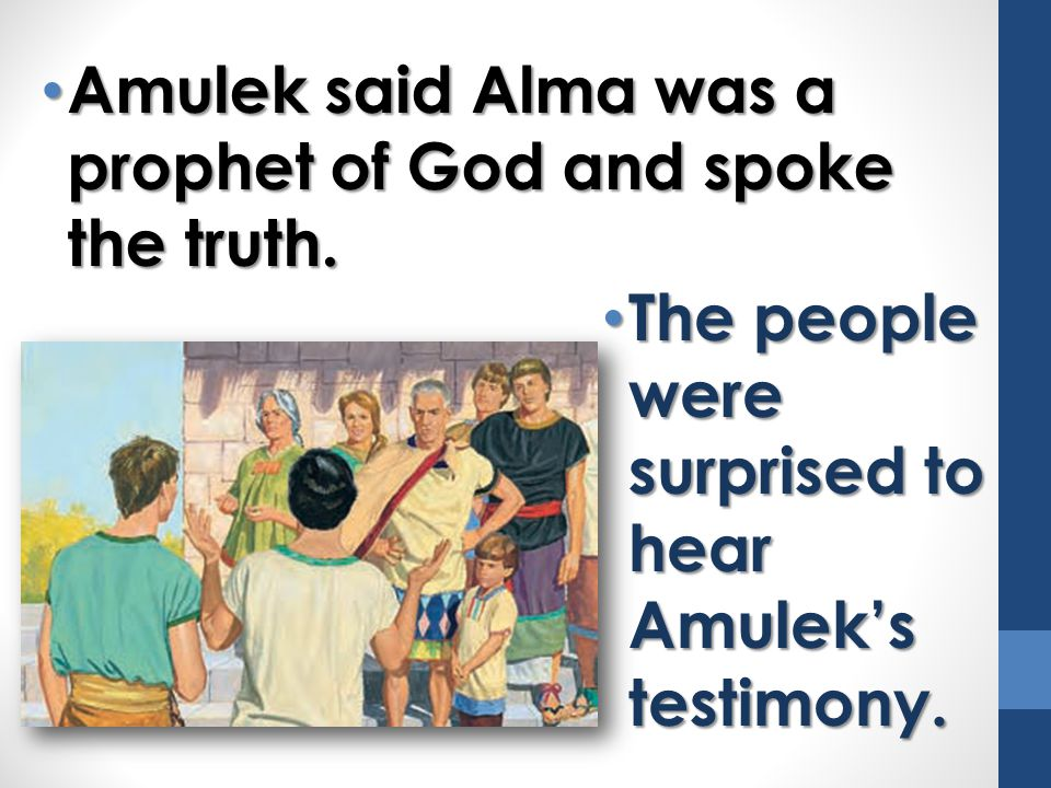 Amulek said Alma was a prophet of God and spoke the truth.
