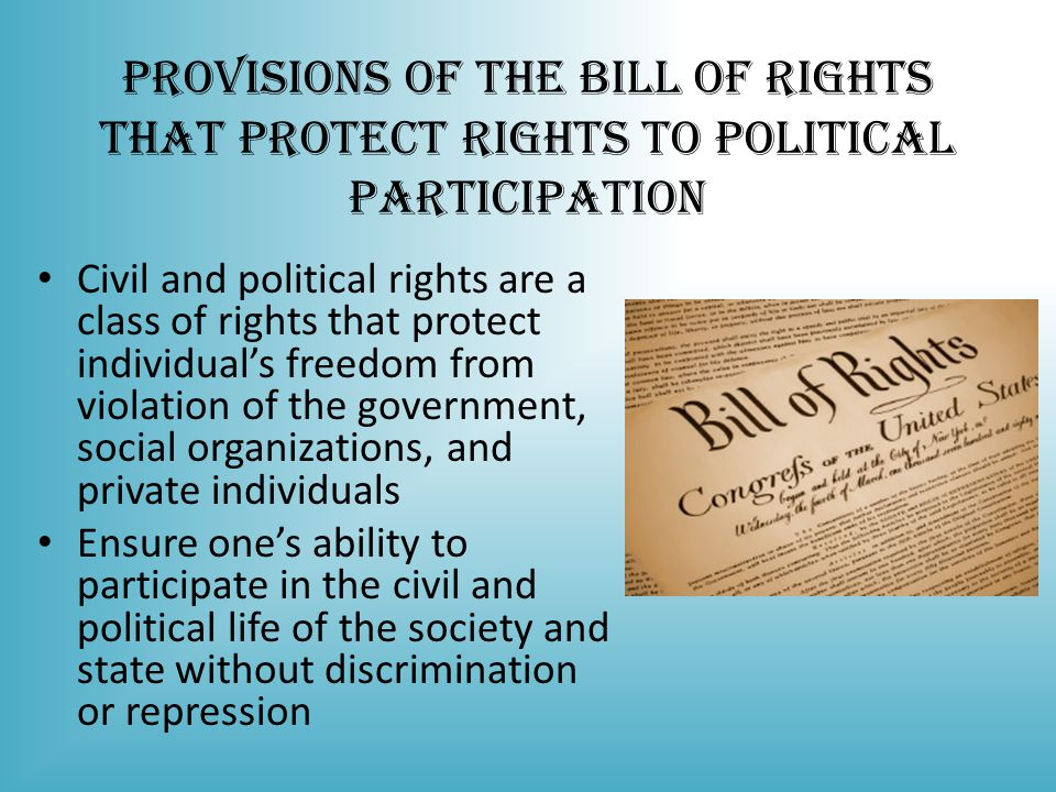 Provisions of the Bill of Rights that Protect Rights to Political Participation