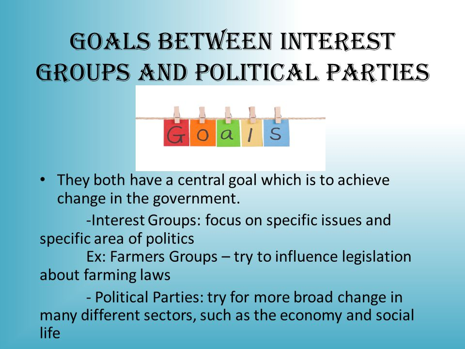 Goals Between Interest Groups and Political Parties