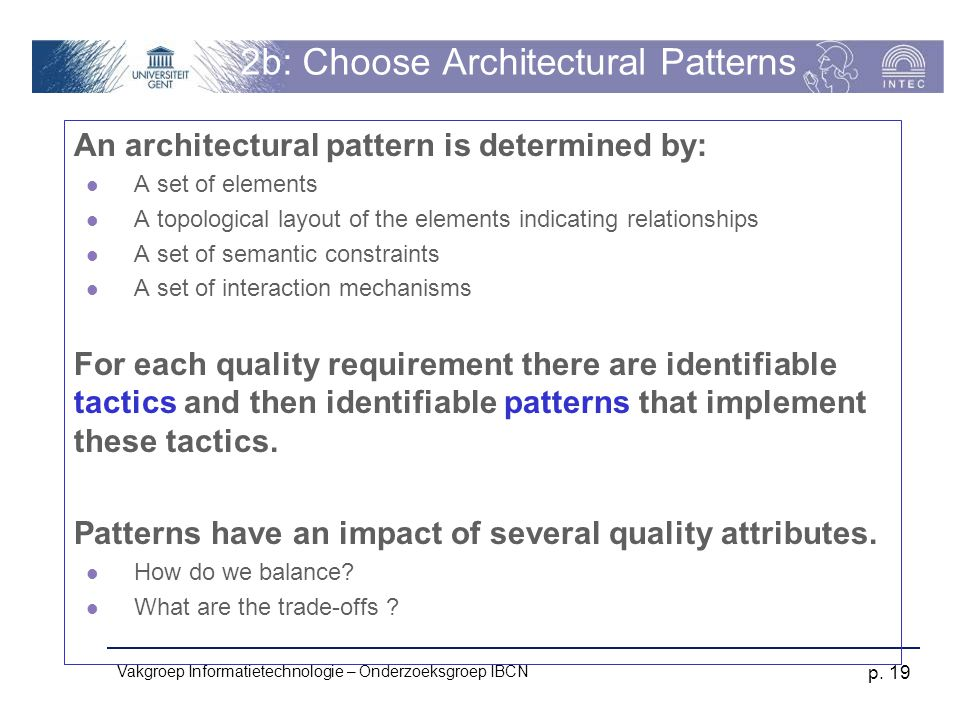2b: Choose Architectural Patterns