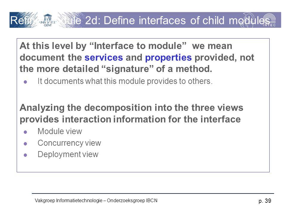 Refine Module 2d: Define interfaces of child modules