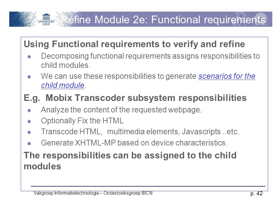 Refine Module 2e: Functional requirements