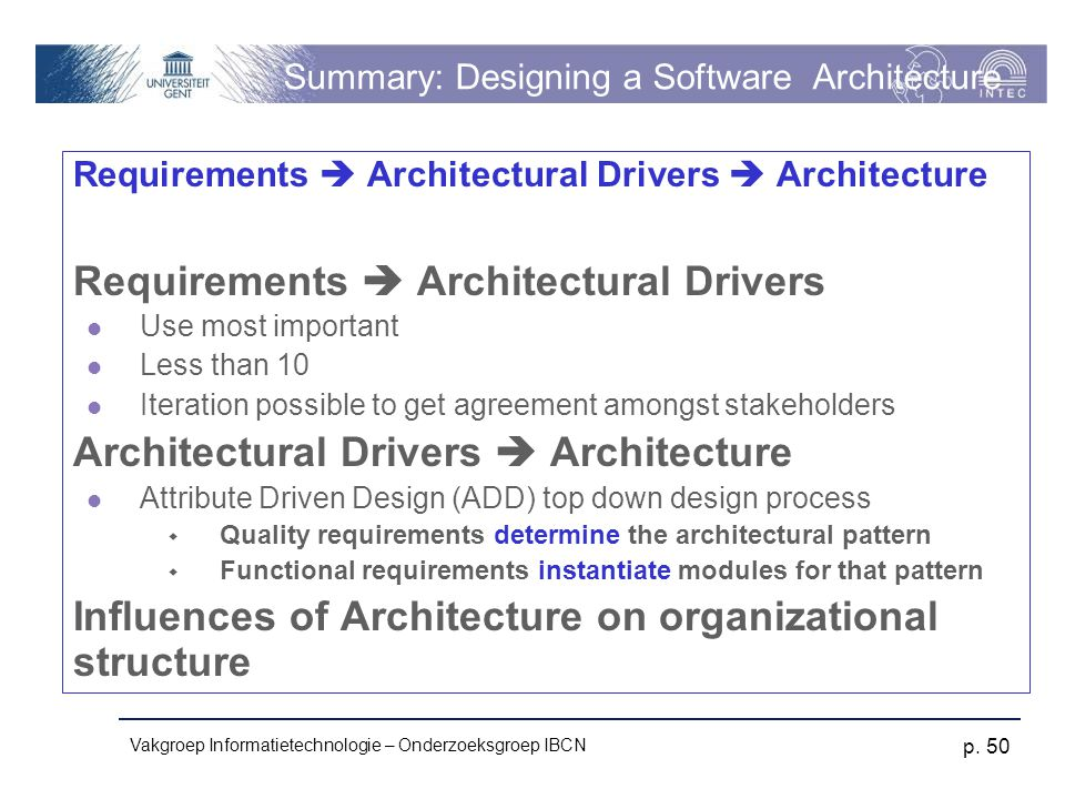 Summary: Designing a Software Architecture