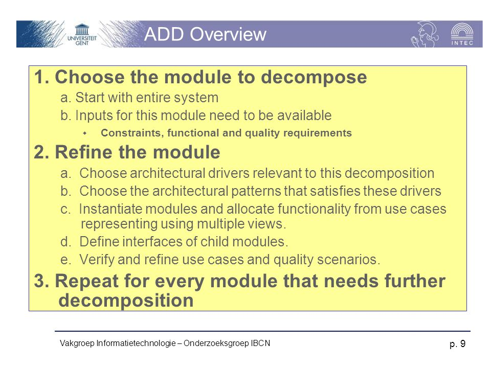 1. Choose the module to decompose