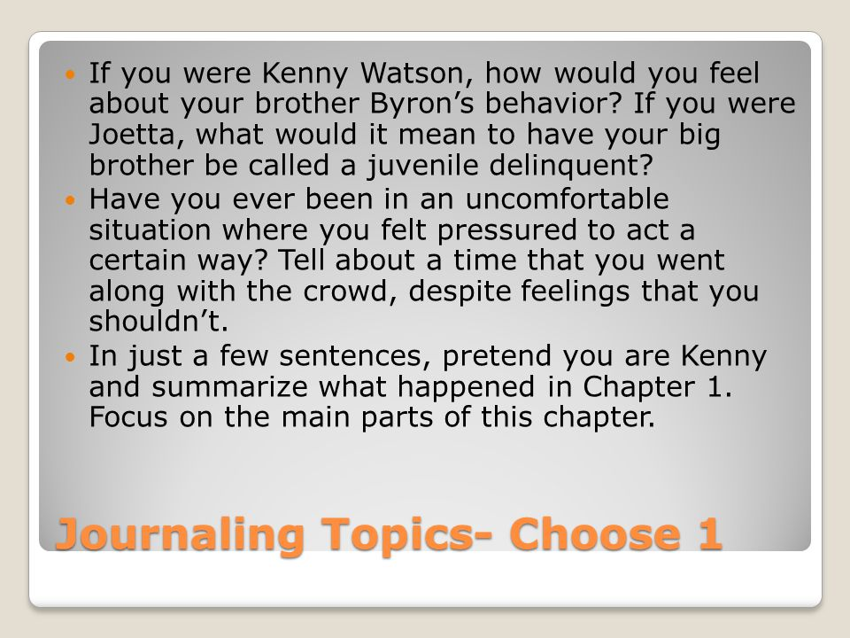 Journaling Topics- Choose 1