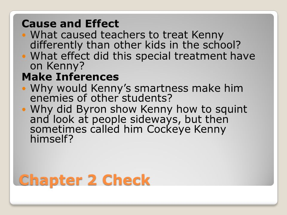 Chapter 2 Check Cause and Effect