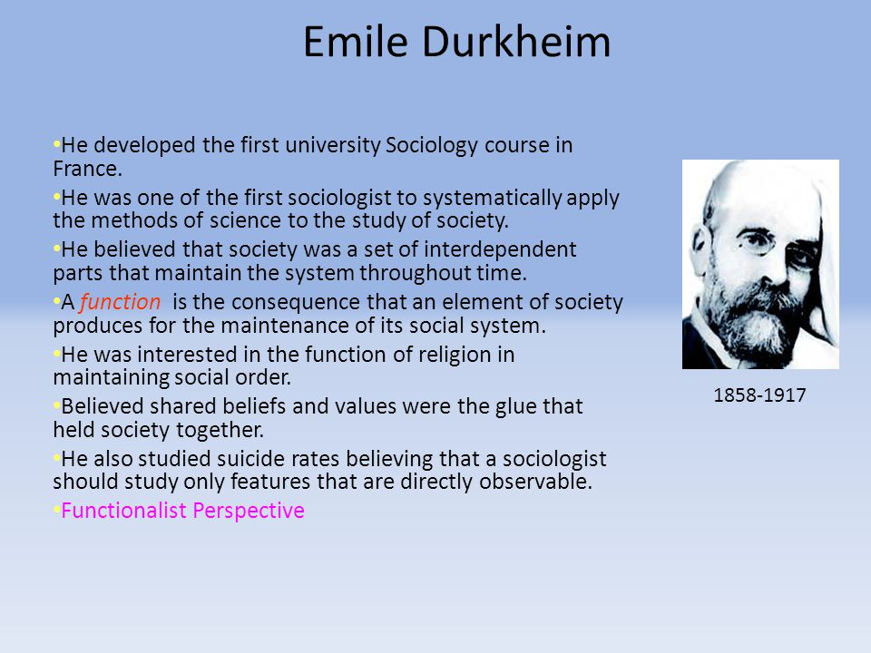Emile Durkheim He developed the first university Sociology course in France.