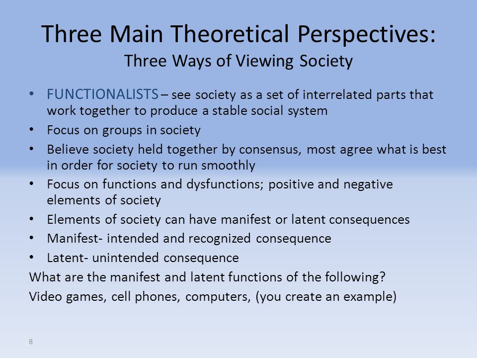 Three Main Theoretical Perspectives: Three Ways of Viewing Society