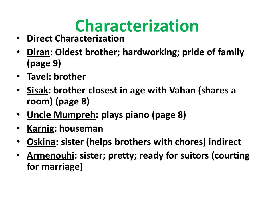 Characterization Direct Characterization