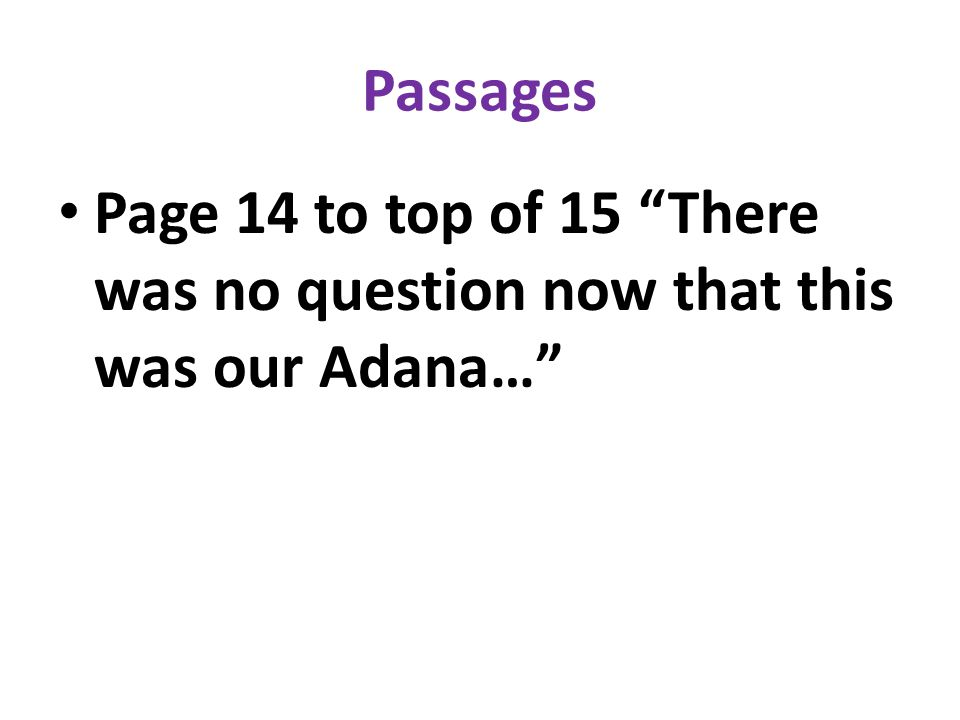 Passages Page 14 to top of 15 There was no question now that this was our Adana…