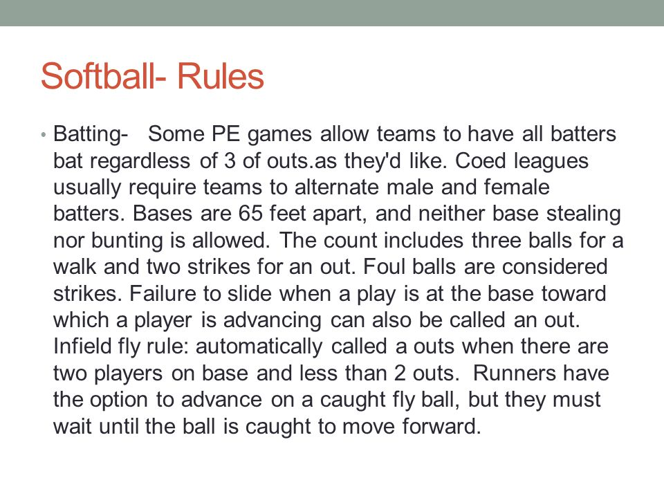 Softball- Rules