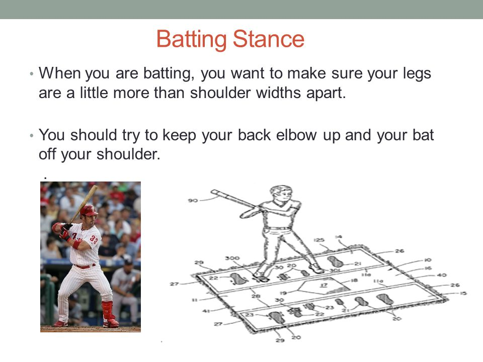 Batting Stance When you are batting, you want to make sure your legs are a little more than shoulder widths apart.