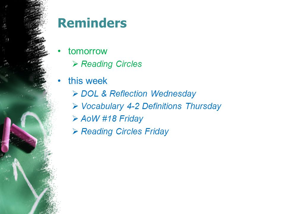 Reminders tomorrow this week Reading Circles
