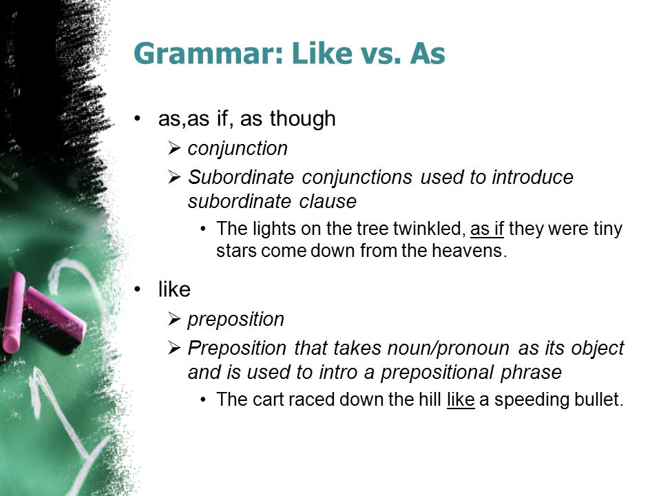 Grammar: Like vs. As as,as if, as though like conjunction