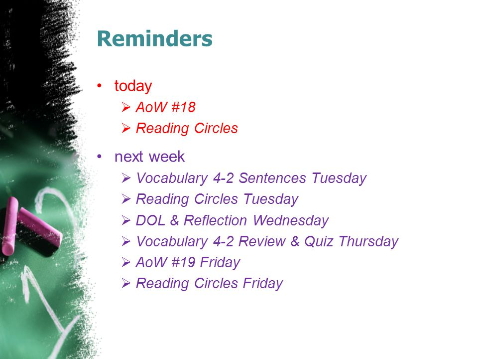 Reminders today next week AoW #18 Reading Circles