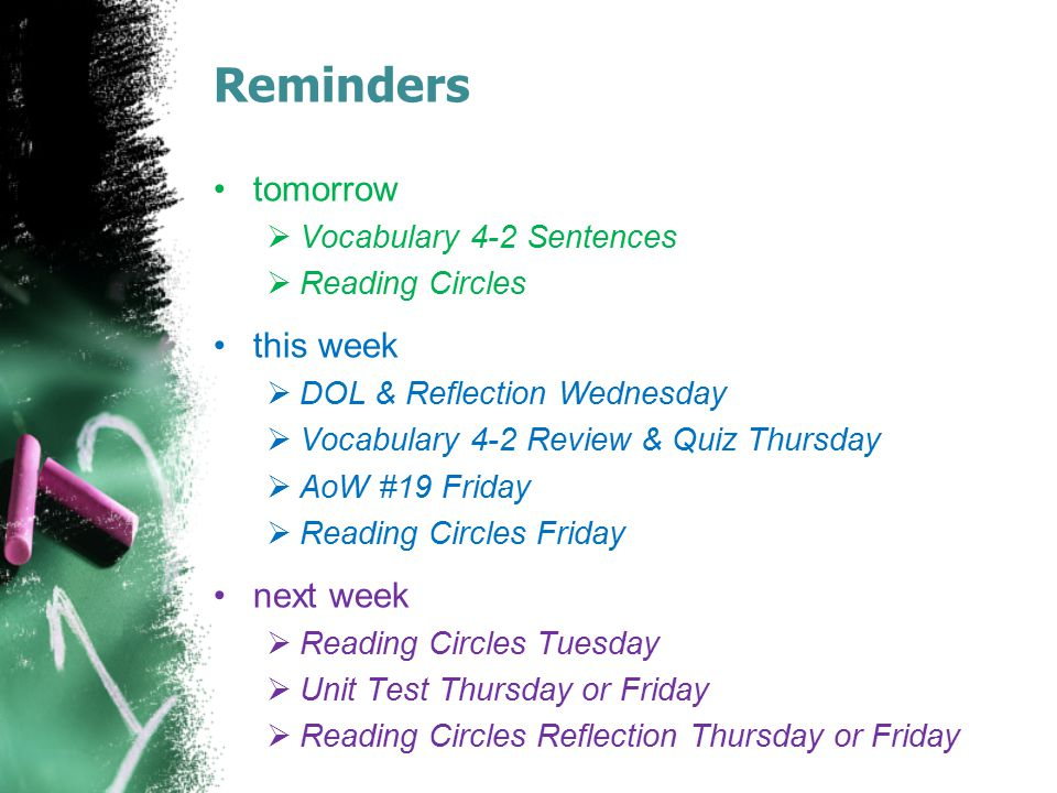 Reminders tomorrow this week next week Vocabulary 4-2 Sentences