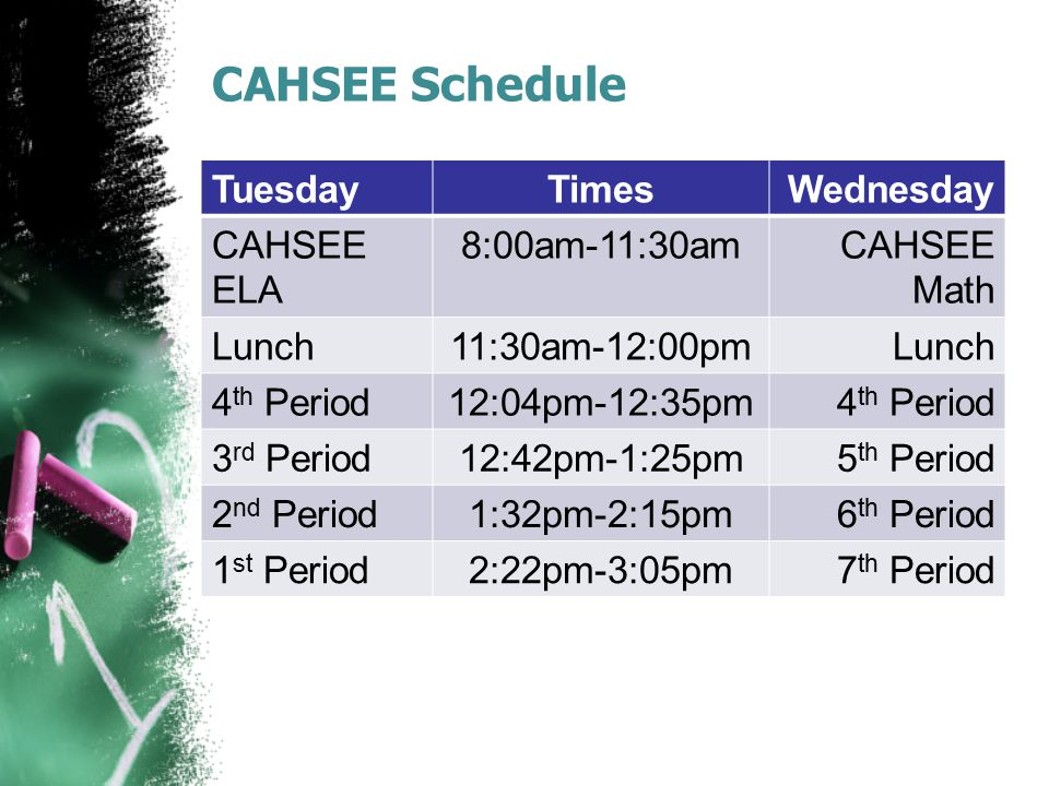 CAHSEE Schedule Tuesday Times Wednesday CAHSEE ELA 8:00am-11:30am
