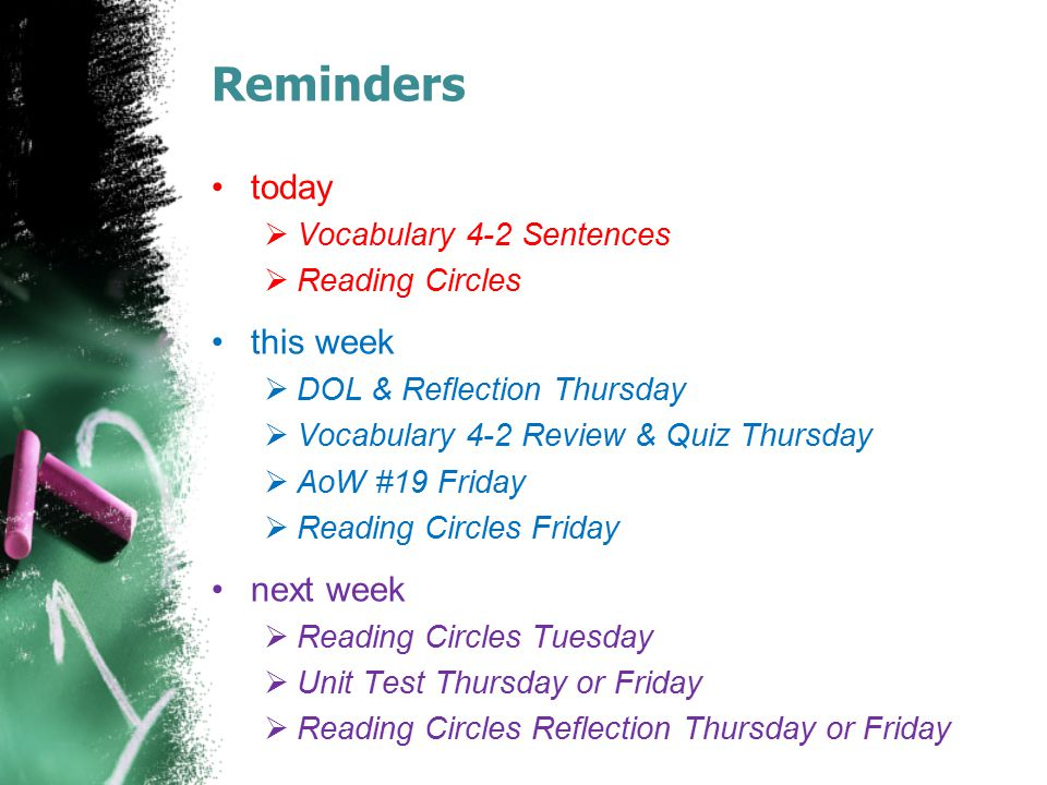 Reminders today this week next week Vocabulary 4-2 Sentences