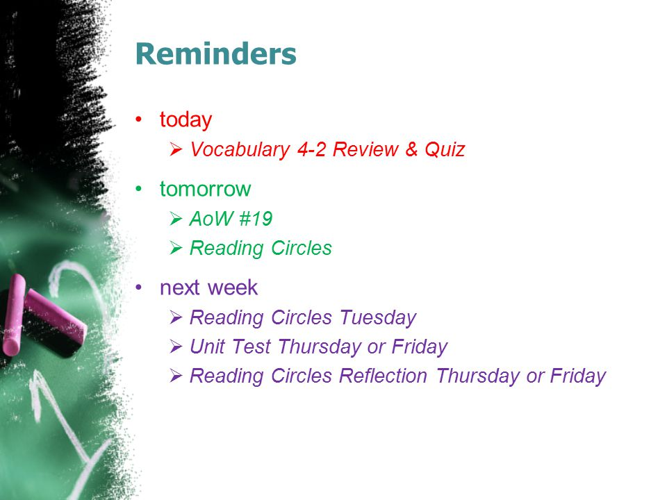Reminders today tomorrow next week Vocabulary 4-2 Review & Quiz